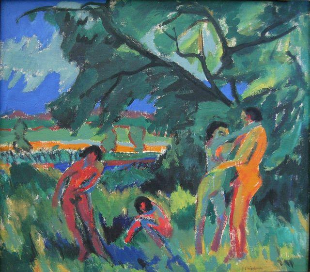 Ernst Ludwig Kirchner, Spielende nackte Menschen, 1910, Pinakothek der Moderne, Quelle: Wikipedia