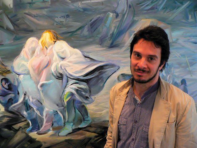 """Mario Lischewsky vor seinem Bild """"Leben, leben dennoch"""", 2011. Foto © Urszula Usakowska-Wolff"""