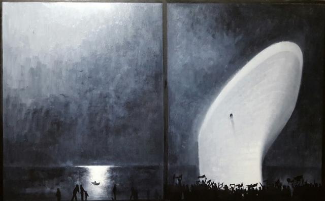 Mario Lischewsky, Ankunft, 2015, Öl auf Leinwand, 100 x 130 cm. Photo courtesy the artist