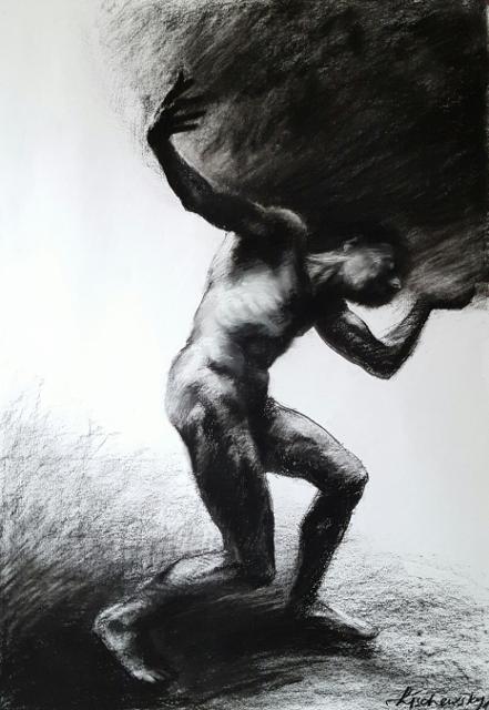 Mario Lischewsky, Atlas, Pastellkreide auf Papier, 100 x 70 cm