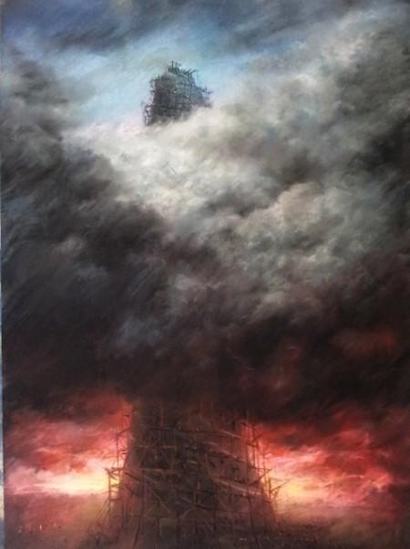 Mario Lischewsky, Babylon, 2014, Pastellkreide auf Papier, 100 x 70 cm. Photo courtesy the artist