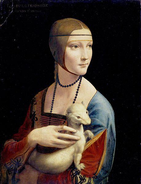 Leonardo da Vinci, Dame mit dem Hermelin, um 1490, Czartoryski-Sammlung Krakau, Quelle: Wikipedia, public domain