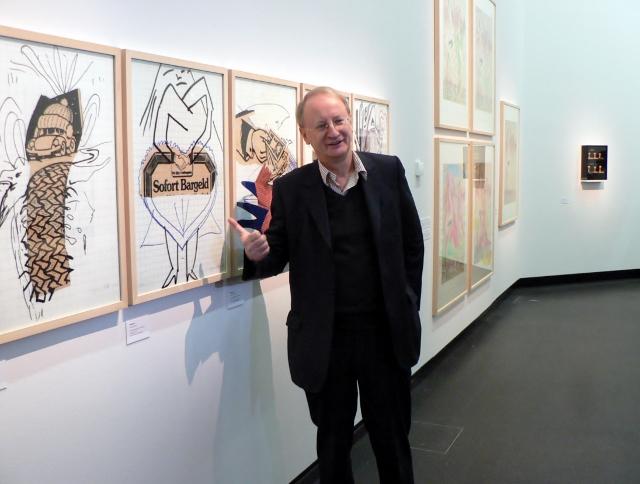 """Klaus Staeck, Ausstellung """"Sigmar Polke - Eine Hommage. Bilanz einer Künstlerfreundschaft Polke/Staeck"""", AdK Berlin, 2011. Foto © Urszula Usakowska-Wolff"""