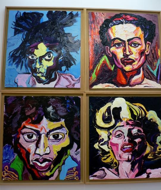 Charles Szymkowicz, Basquiate, Kahlo, Hendrix und Monroe. Foto © Urszula Usakowska-Wolff