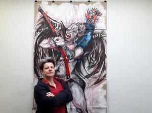 """Nadja Schüller-Ost vor ihrem Bild """"Amor, meine Geisel"""" in der Galerie DasLabor, 13.04.2018. Foto © Urszula Usakowska-Wolff"""