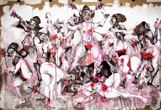 Nadja Schüller-Ost, Von Pein und Verderben, 2010, Acryl und Ölpaste auf Kartonage, 200 x 283 cm. Foto © Nadja Schüller-Ost