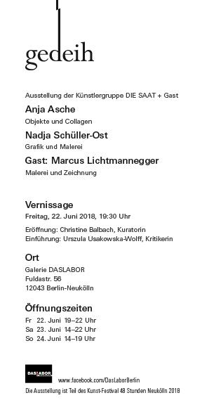 """Ausstellungskarte """"gedeih"""", Galerie DASLABOR, 22.-24.06.2018. Entwurf © Anja Asche"""