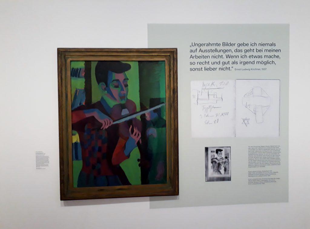 Ausstellungsansicht mit Ernst Ludwig Kircher, Geiger Häusermann, 1927. Foto: Urszula Usakowska-Wolff