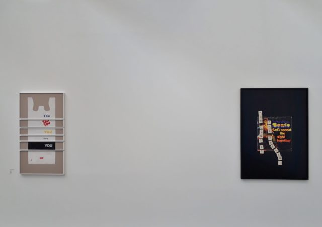 "Natalie Czech, ""A poem by repetitions by Eugen Gomringer 2"", 2019 (links) und ""A poet's question by David Antin (Bowie)"", 2018 (""How long is the present? eeeghilnnooprssttw""), archival pigment print. Foto: Urszula Usakowska-Wolff"