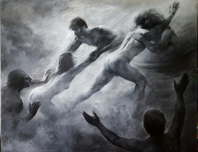 Mario Lischewsky, Exodus, 2015, Pastellkreide und Ölfarbe auf Papier, 160 x 200 cm. Photo courtesy the artist
