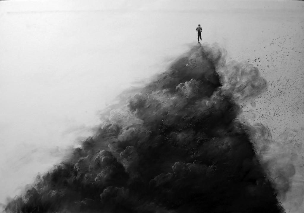 Mario Lischewsky, Staubmacher, 2016, Pastellkreide auf Papier, 100 x 70 cm. Foto courtesy the artist