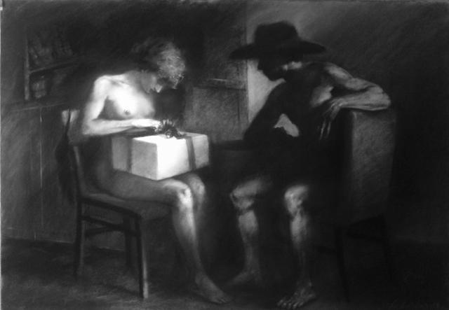 Mario Lischewsky, Surprise, 2014, 70 x 100 cm. Pastellkreide auf Papier. Photo courtesy the artist